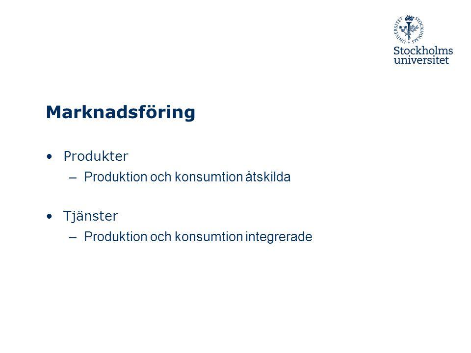 Marknadsföring Produkter Produktion och konsumtion åtskilda Tjänster