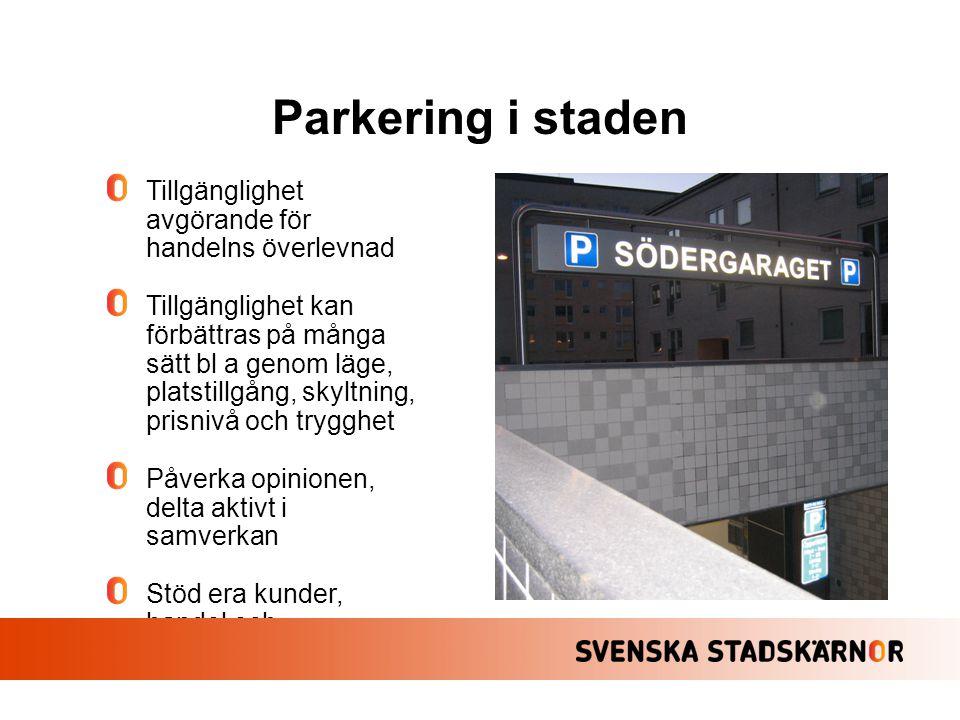 Parkering i staden Tillgänglighet avgörande för handelns överlevnad