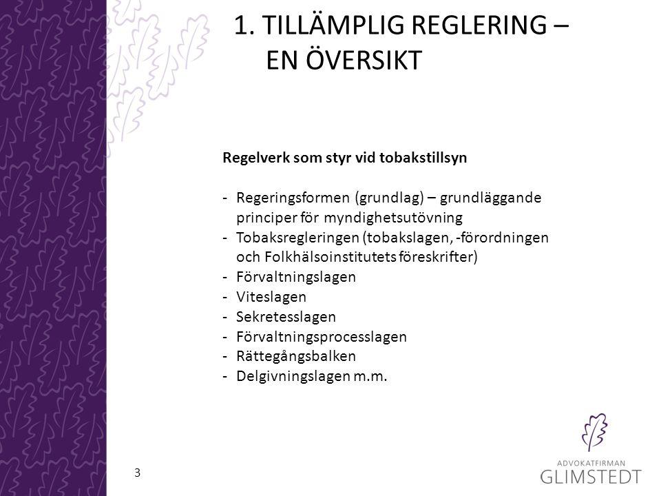 1. TILLÄMPLIG REGLERING – EN ÖVERSIKT