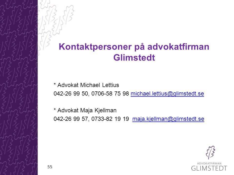 Kontaktpersoner på advokatfirman Glimstedt