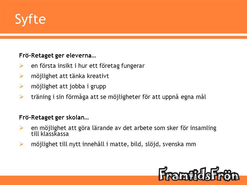 Syfte Frö-Retaget ger eleverna…