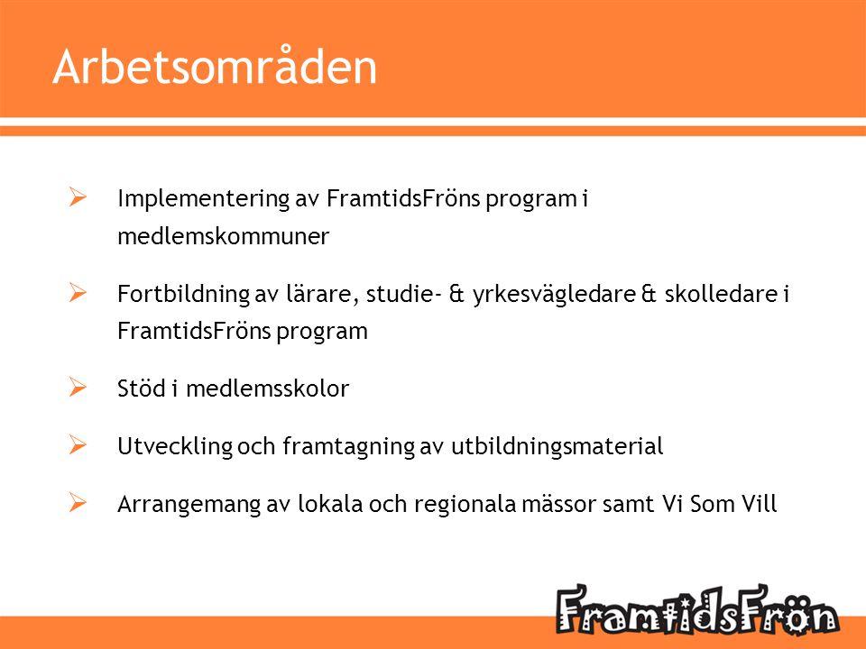 Arbetsområden Implementering av FramtidsFröns program i medlemskommuner.