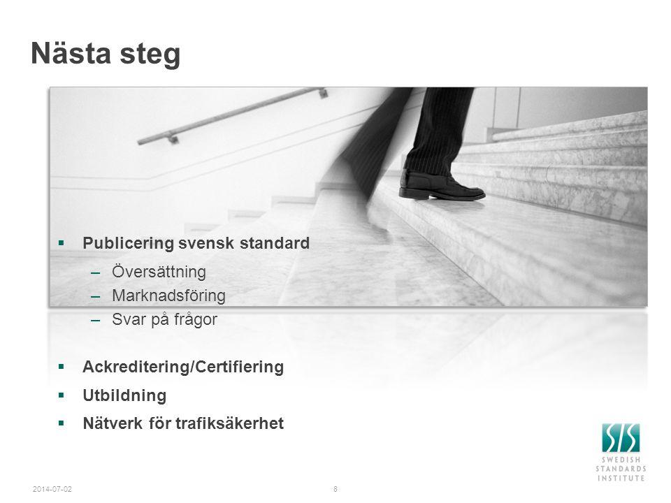 Nästa steg Publicering svensk standard Översättning Marknadsföring