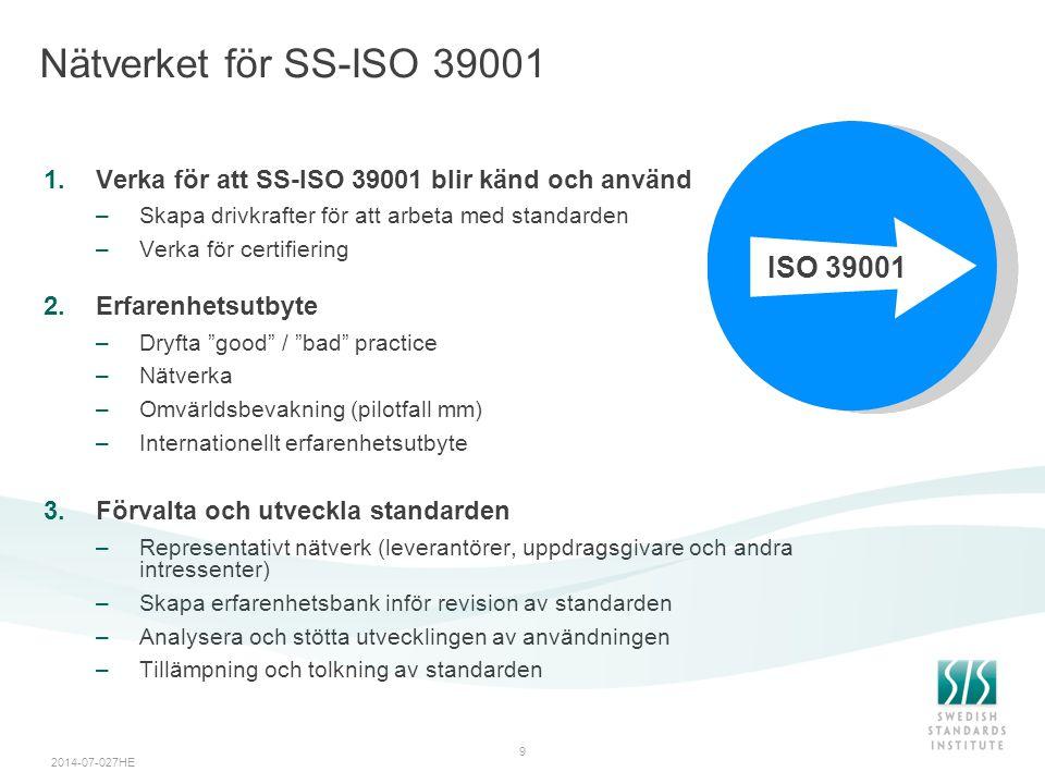 Nätverket för SS-ISO 39001 ISO 39001