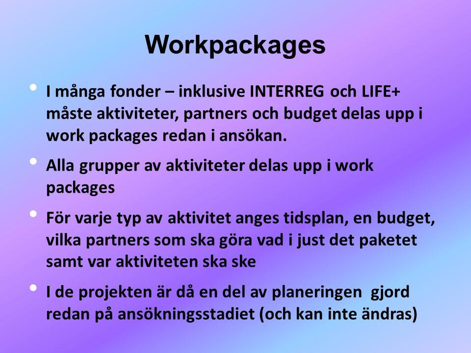 Workpackages I många fonder – inklusive INTERREG och LIFE+ måste aktiviteter, partners och budget delas upp i work packages redan i ansökan.