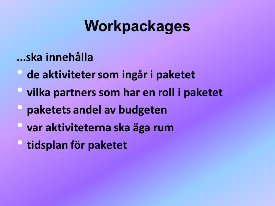Workpackages ...ska innehålla de aktiviteter som ingår i paketet