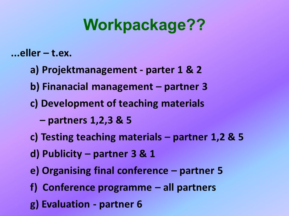 Workpackage