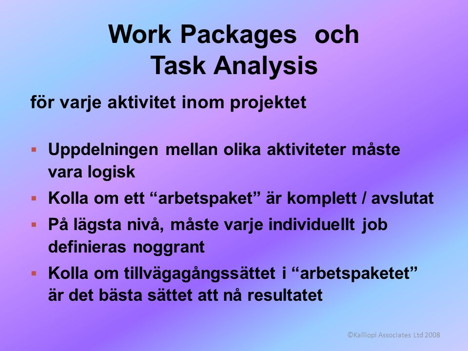Work Packages och Task Analysis