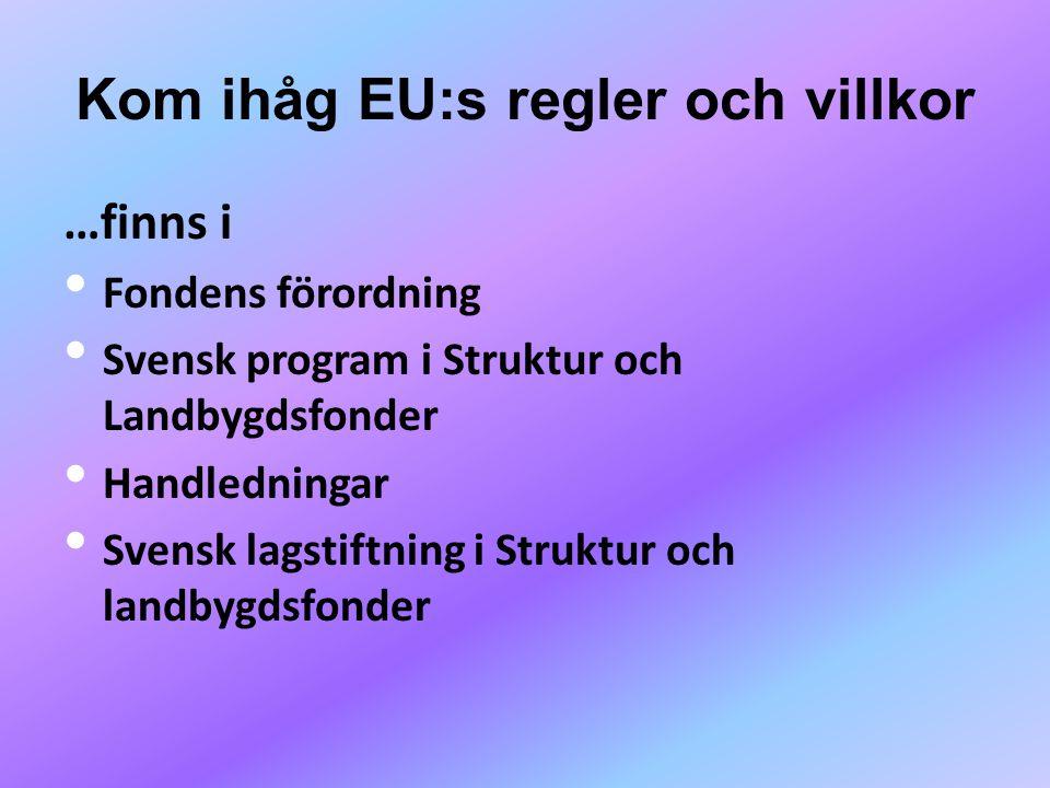 Kom ihåg EU:s regler och villkor