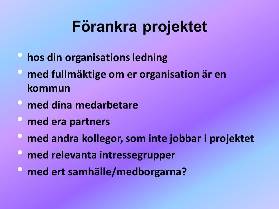 Förankra projektet hos din organisations ledning