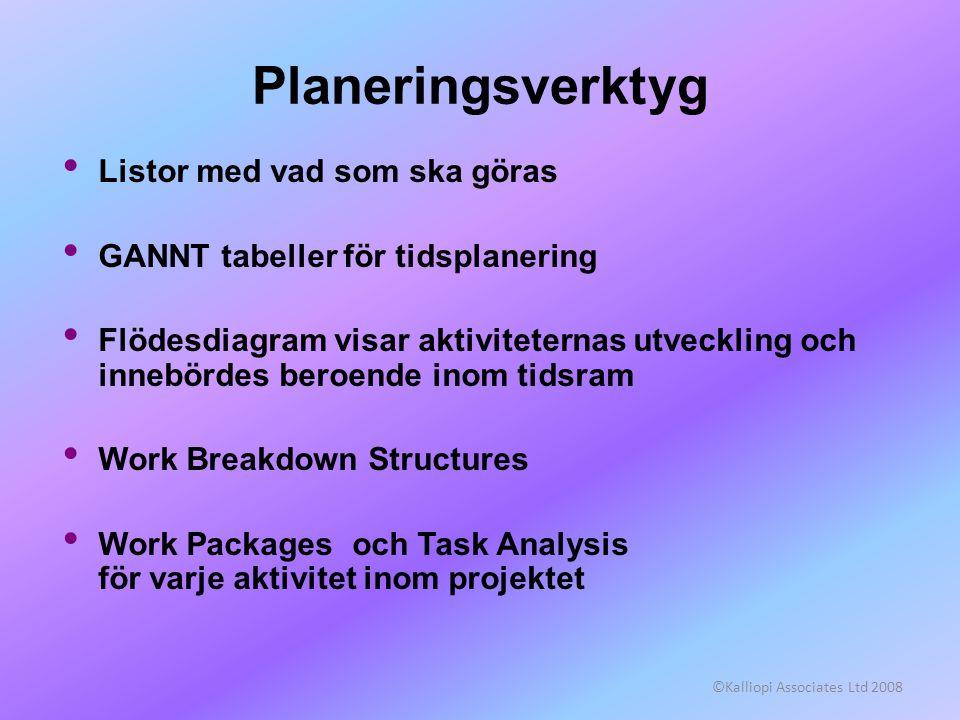 Planeringsverktyg Listor med vad som ska göras