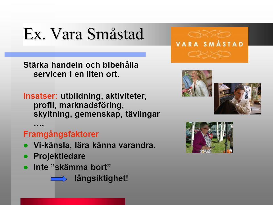 Ex. Vara Småstad Stärka handeln och bibehålla servicen i en liten ort.