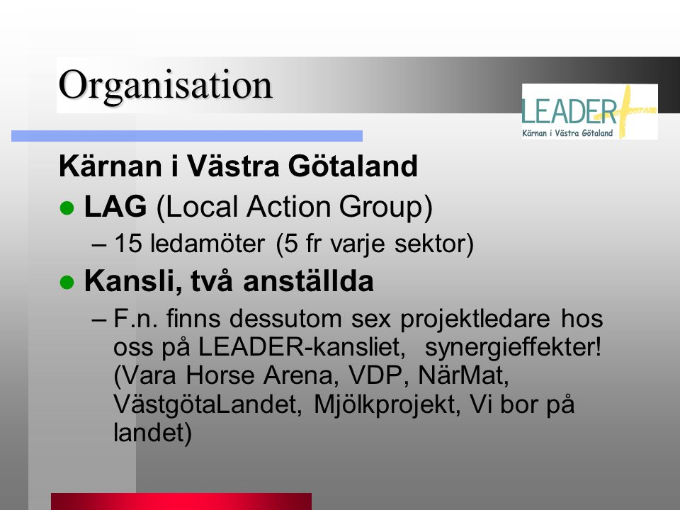 Organisation Kärnan i Västra Götaland LAG (Local Action Group)