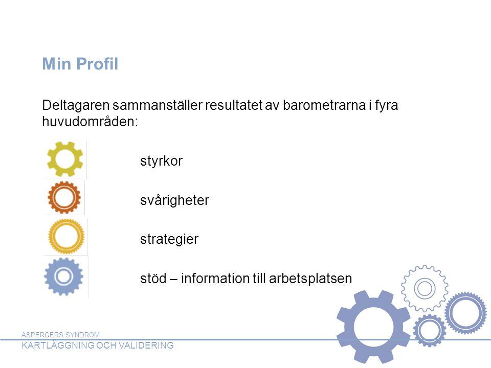 Min Profil Deltagaren sammanställer resultatet av barometrarna i fyra huvudområden: styrkor. svårigheter.