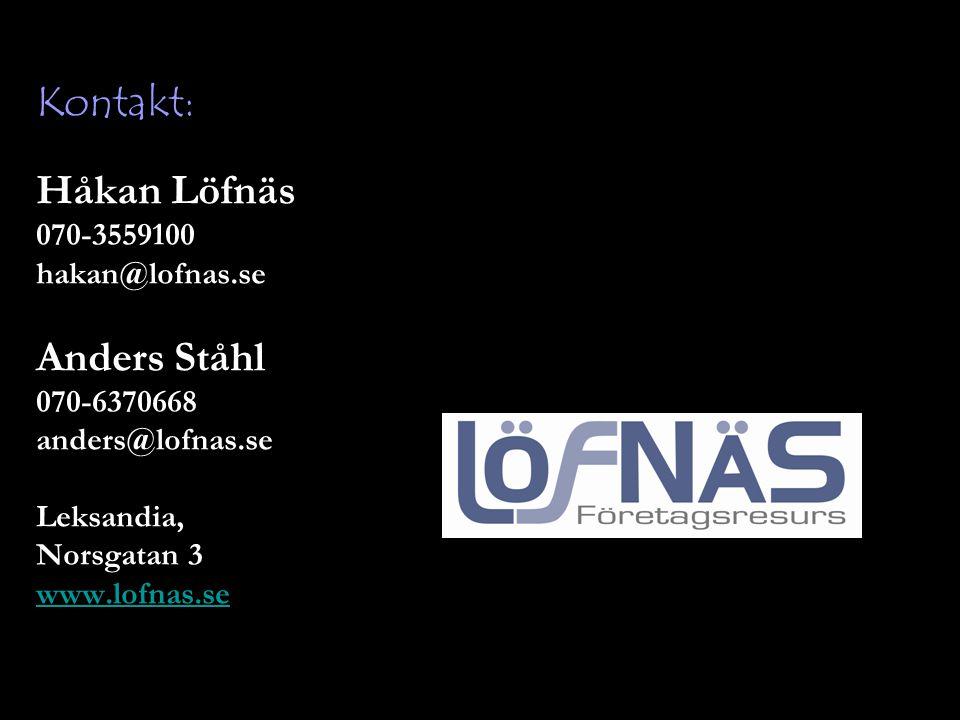 Kontakt: Håkan Löfnäs Anders Ståhl 070-3559100 hakan@lofnas.se