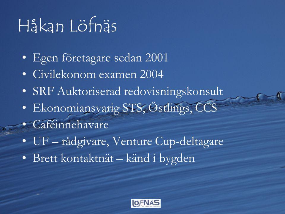 Håkan Löfnäs Egen företagare sedan 2001 Civilekonom examen 2004