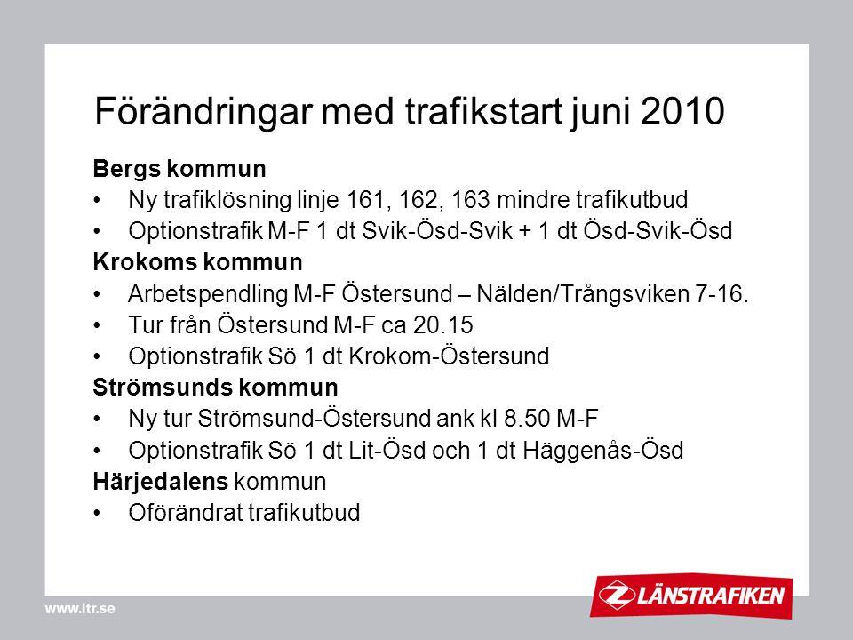 Förändringar med trafikstart juni 2010