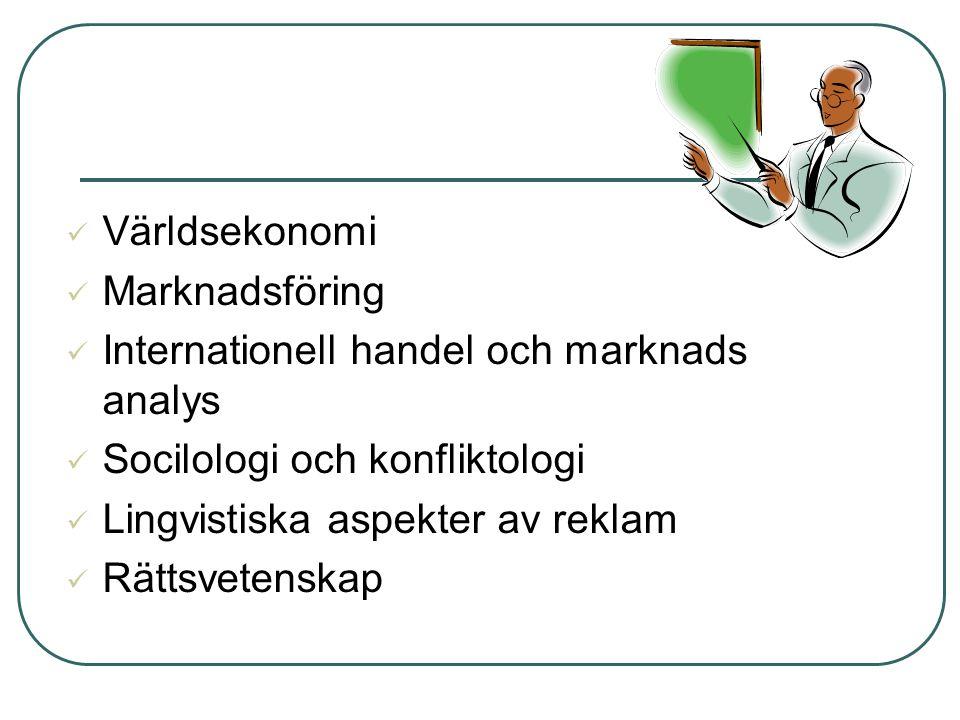 Världsekonomi Marknadsföring. Internationell handel och marknads analys. Socilologi och konfliktologi.