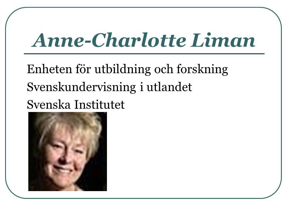 Anne-Charlotte Liman Enheten för utbildning och forskning