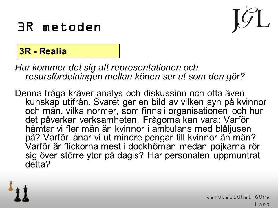 3R metoden 3R - Realia. Hur kommer det sig att representationen och resursfördelningen mellan könen ser ut som den gör