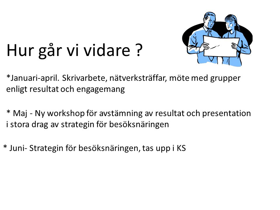 Hur går vi vidare *Januari-april. Skrivarbete, nätverksträffar, möte med grupper enligt resultat och engagemang.