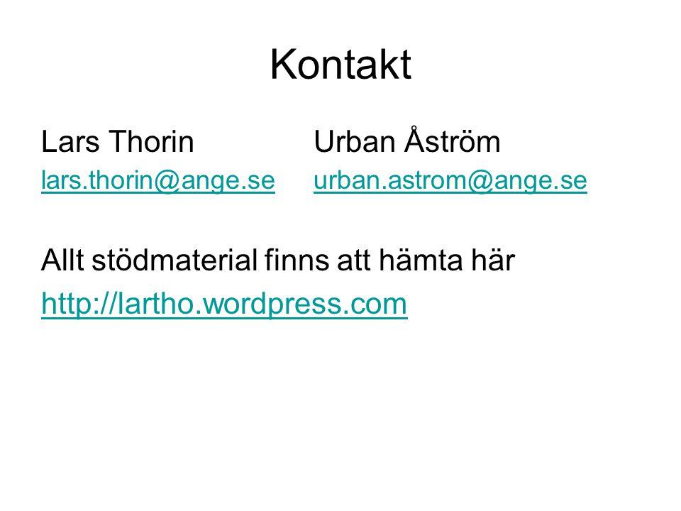 Kontakt Lars Thorin Urban Åström lars.thorin@ange.se urban.astrom@ange.se Allt stödmaterial finns att hämta här http://lartho.wordpress.com