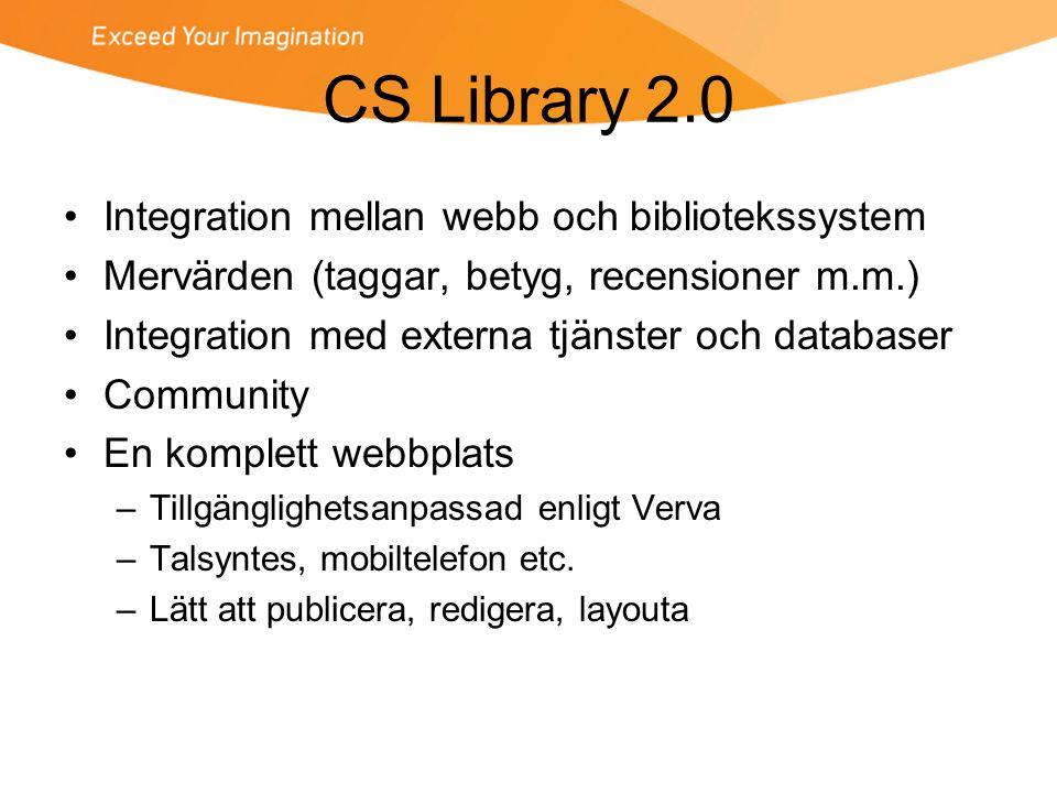 CS Library 2.0 Integration mellan webb och bibliotekssystem