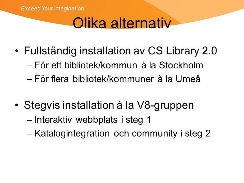 Olika alternativ Fullständig installation av CS Library 2.0