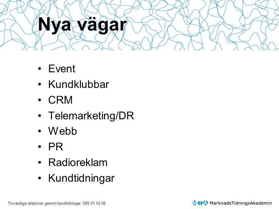 Nya vägar Event Kundklubbar CRM Telemarketing/DR Webb PR Radioreklam