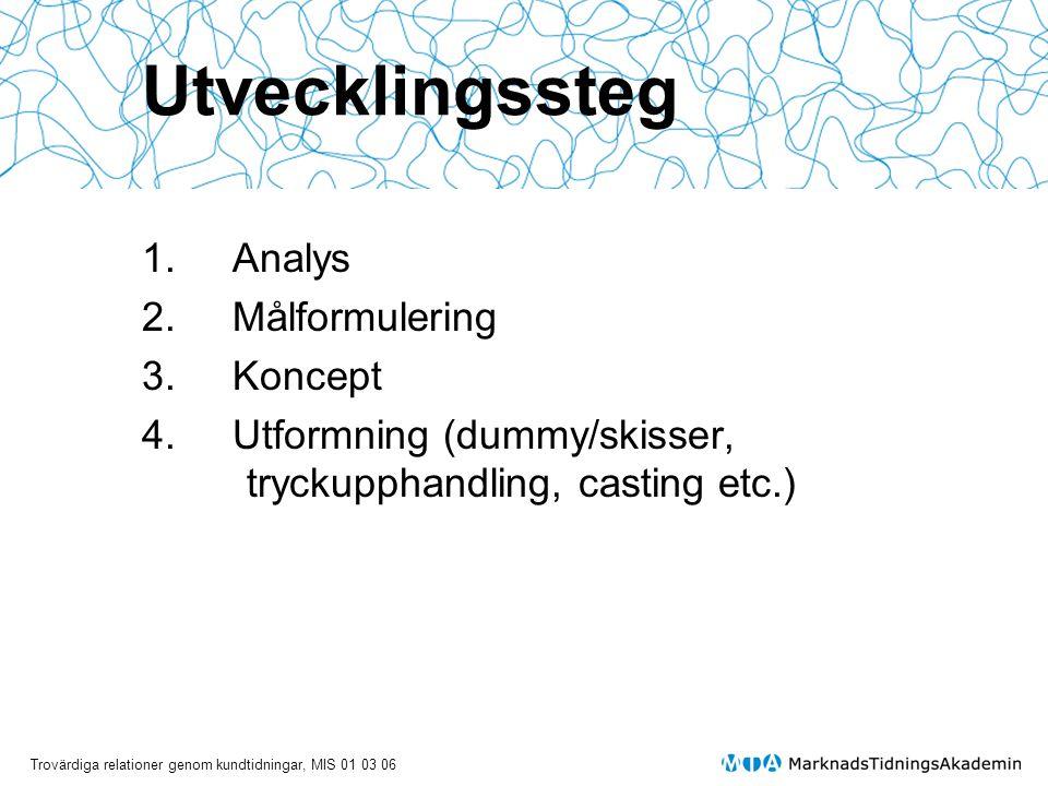 Utvecklingssteg 1. Analys 2. Målformulering 3. Koncept