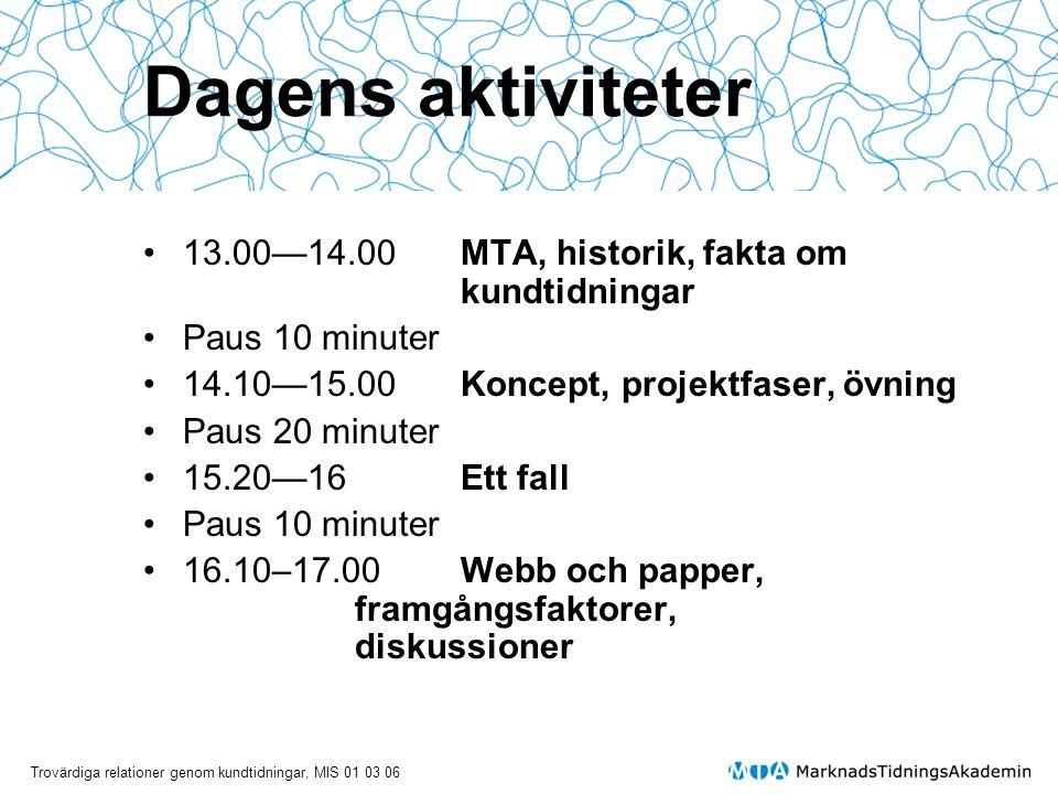 Dagens aktiviteter 13.00—14.00 MTA, historik, fakta om kundtidningar
