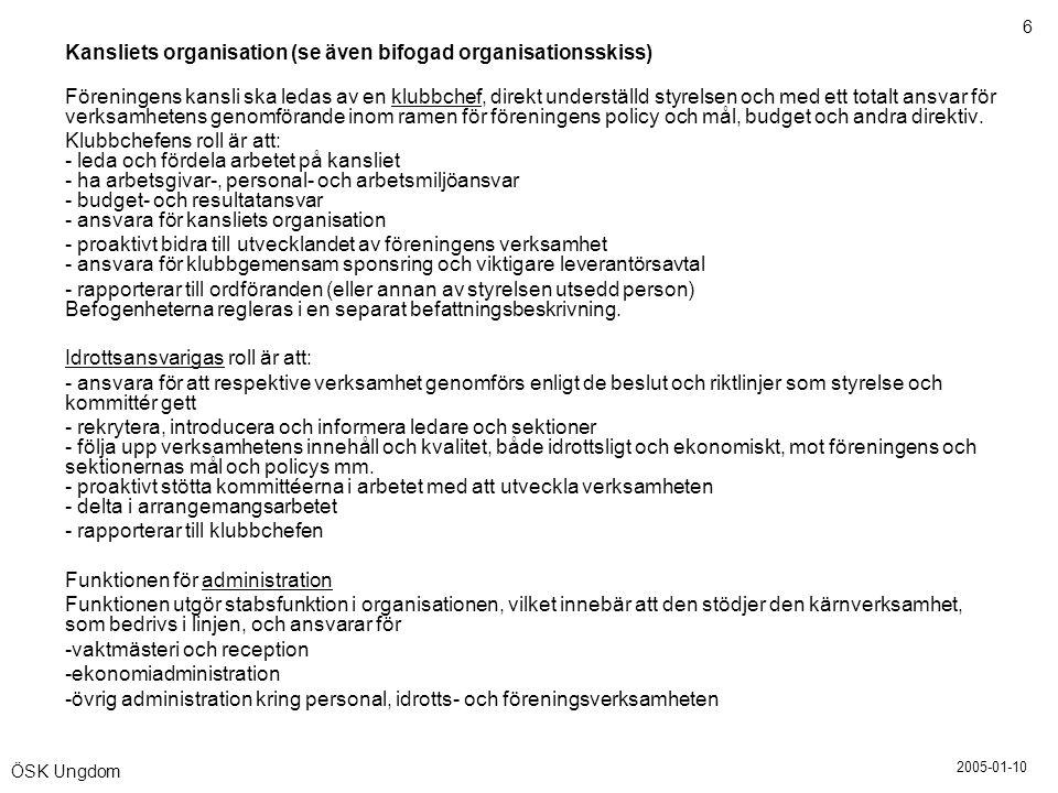 Kansliets organisation (se även bifogad organisationsskiss)