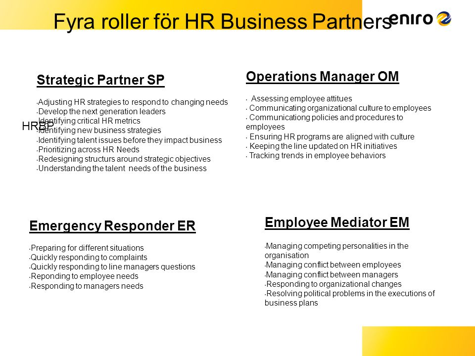 Fyra roller för HR Business Partners
