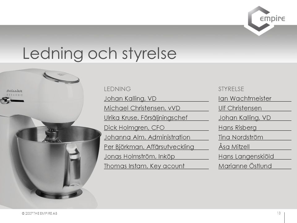 Ledning och styrelse LEDNING Johan Kalling, VD