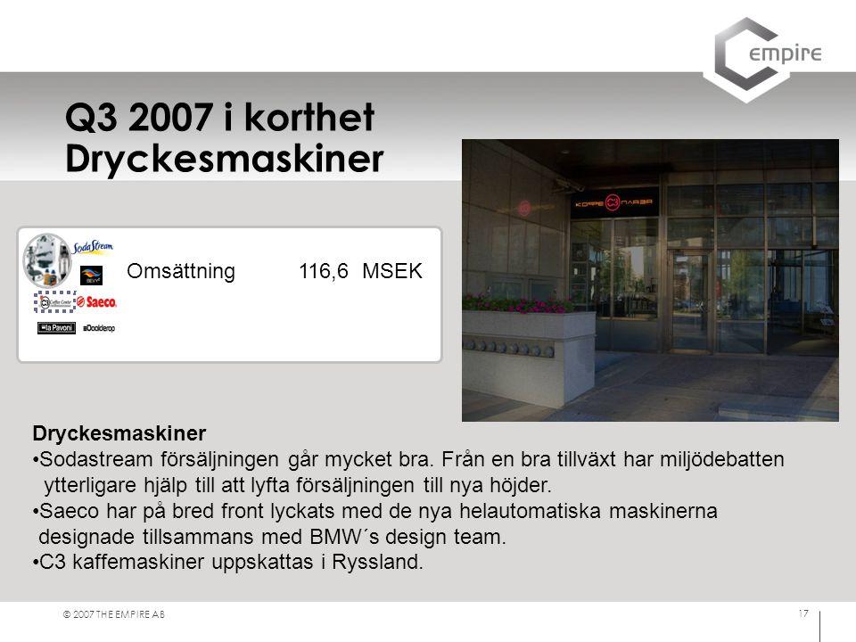 Q3 2007 i korthet Dryckesmaskiner