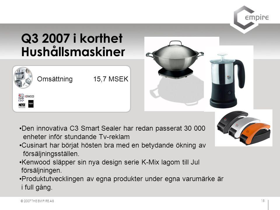 Q3 2007 i korthet Hushållsmaskiner