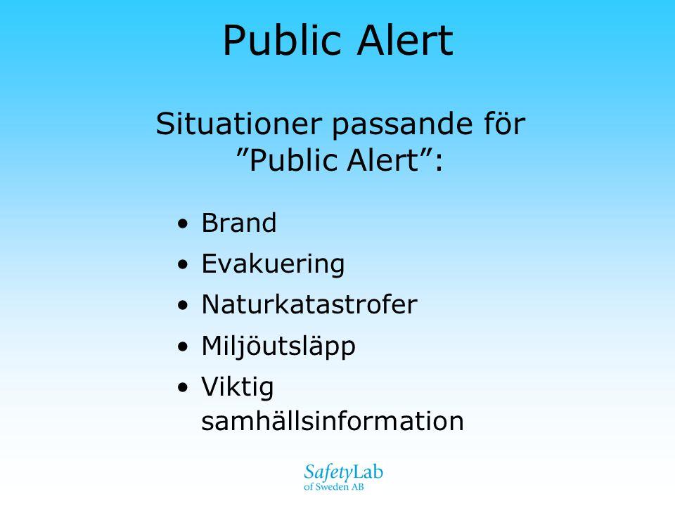Situationer passande för Public Alert :