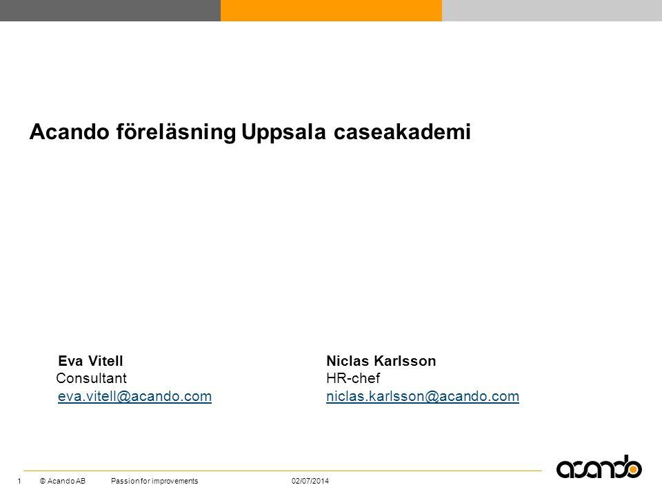 Acando föreläsning Uppsala caseakademi