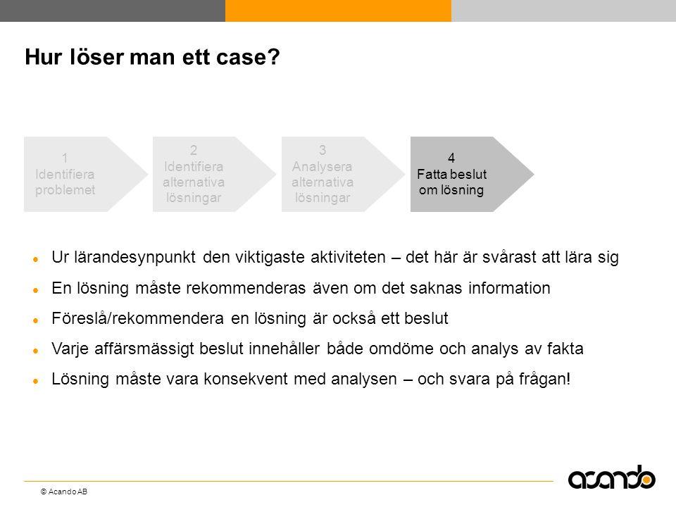 Hur löser man ett case 1. Identifiera problemet. 2. Identifiera alternativa lösningar. 3. Analysera alternativa lösningar.