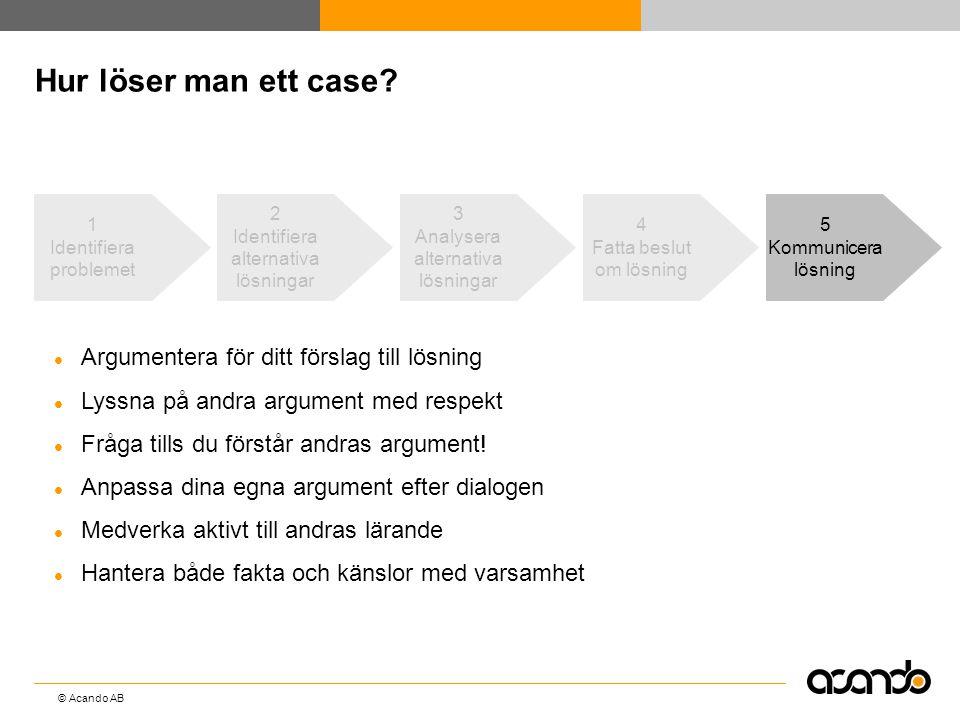 Hur löser man ett case Argumentera för ditt förslag till lösning