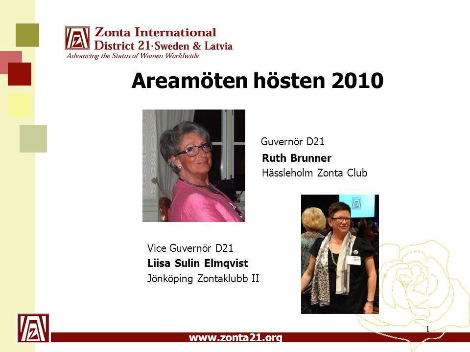 Areamöten hösten 2010 Guvernör D21 Ruth Brunner Hässleholm Zonta Club