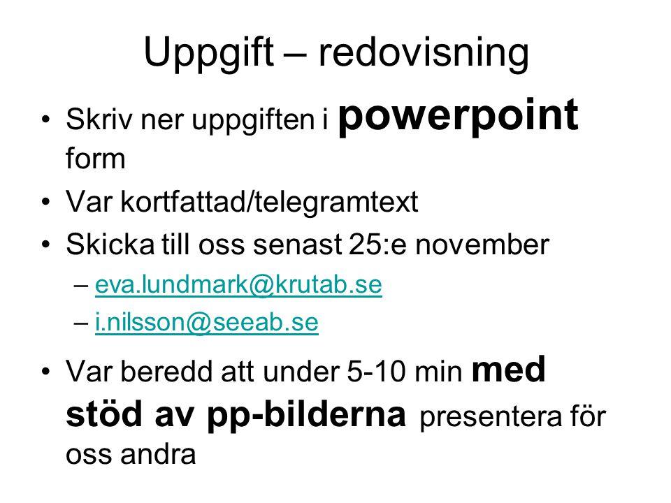 Uppgift – redovisning Skriv ner uppgiften i powerpoint form