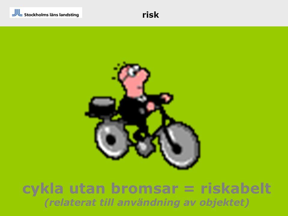 cykla utan bromsar = riskabelt (relaterat till användning av objektet)