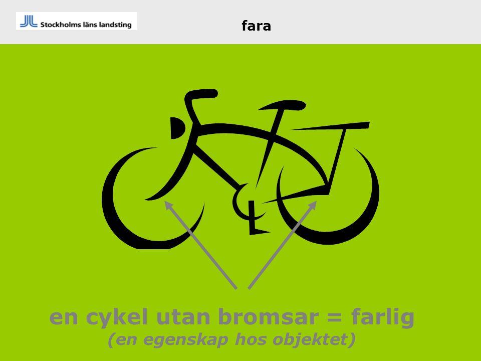 en cykel utan bromsar = farlig (en egenskap hos objektet)