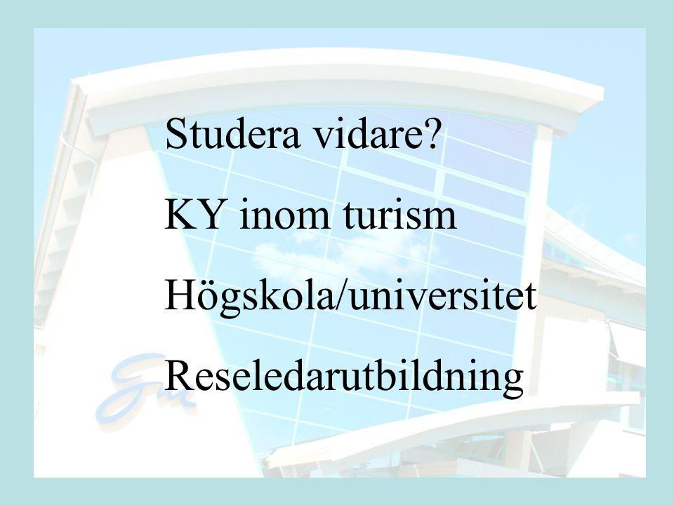 Studera vidare KY inom turism Högskola/universitet Reseledarutbildning
