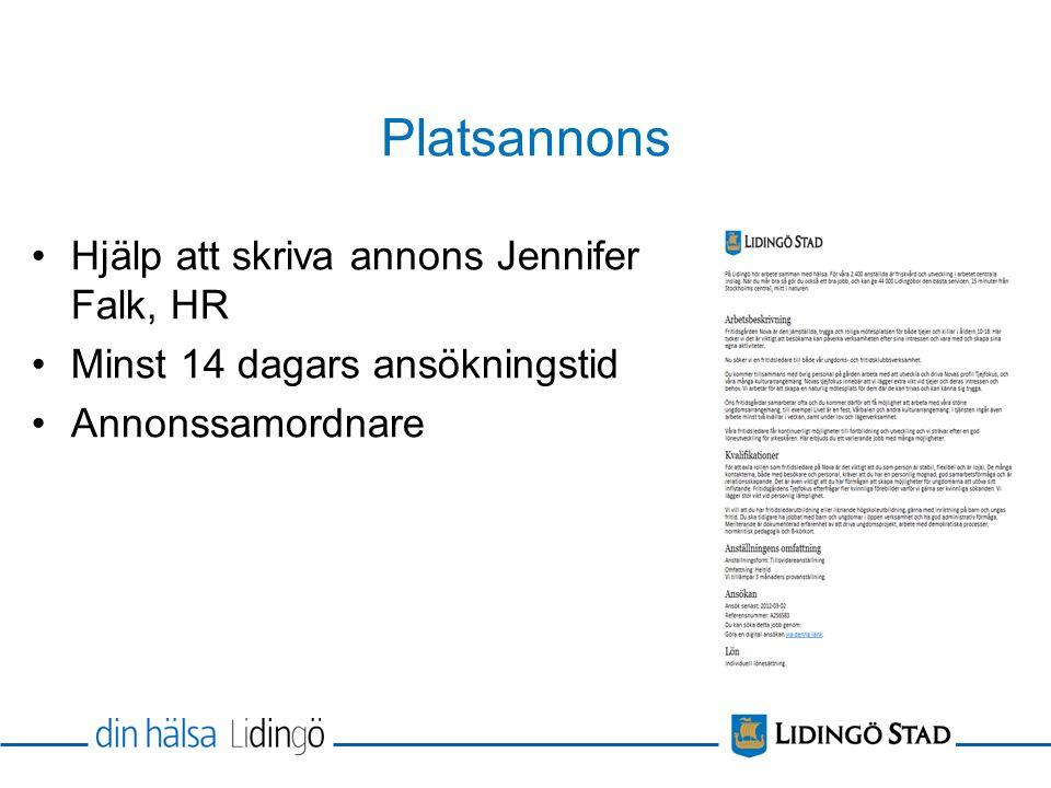 Platsannons Hjälp att skriva annons Jennifer Falk, HR