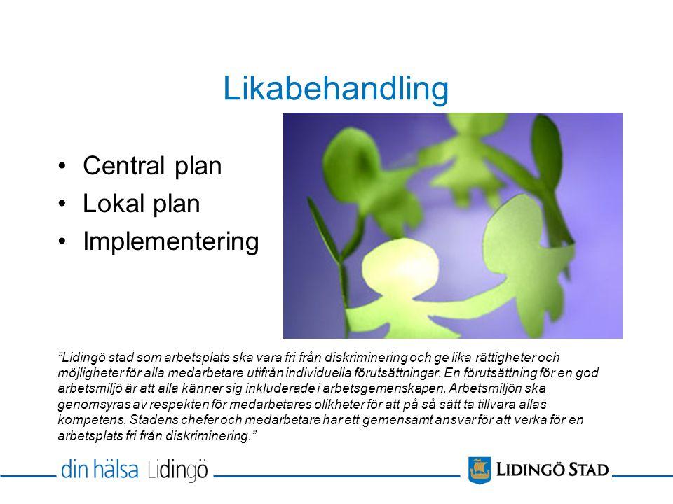 Likabehandling Central plan Lokal plan Implementering