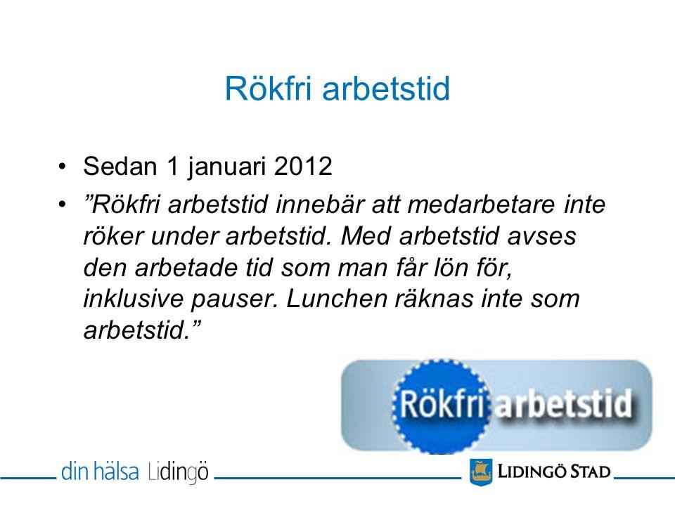 Rökfri arbetstid Sedan 1 januari 2012