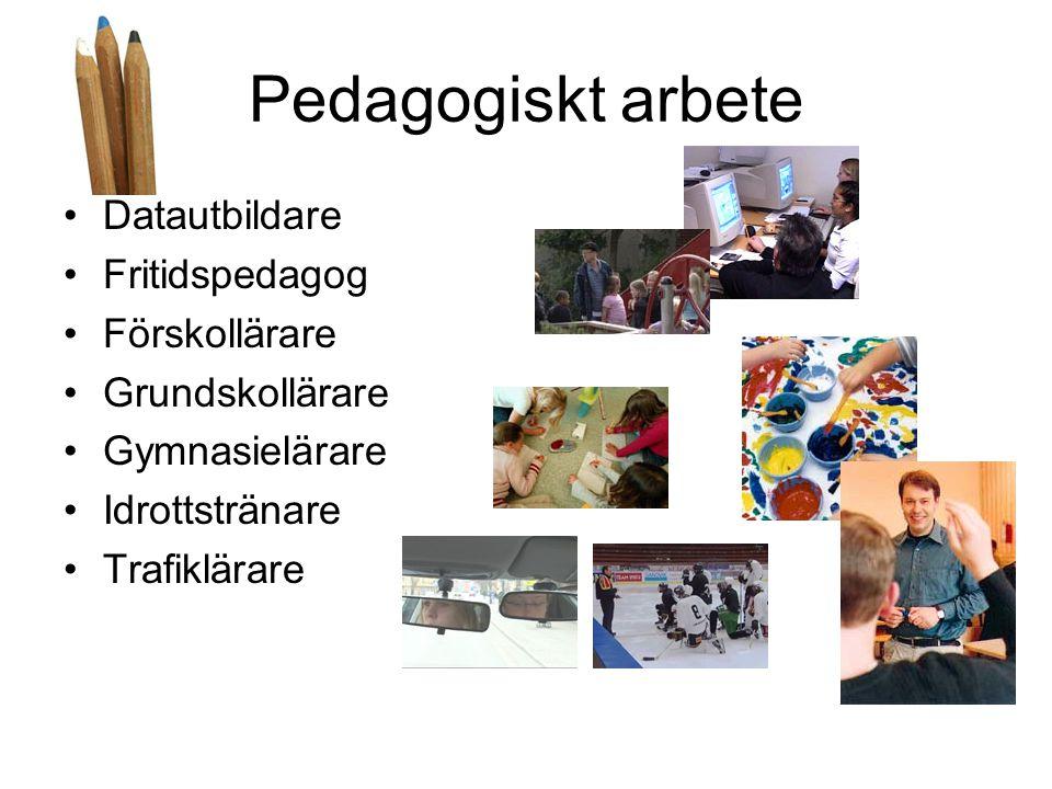 Pedagogiskt arbete Datautbildare Fritidspedagog Förskollärare