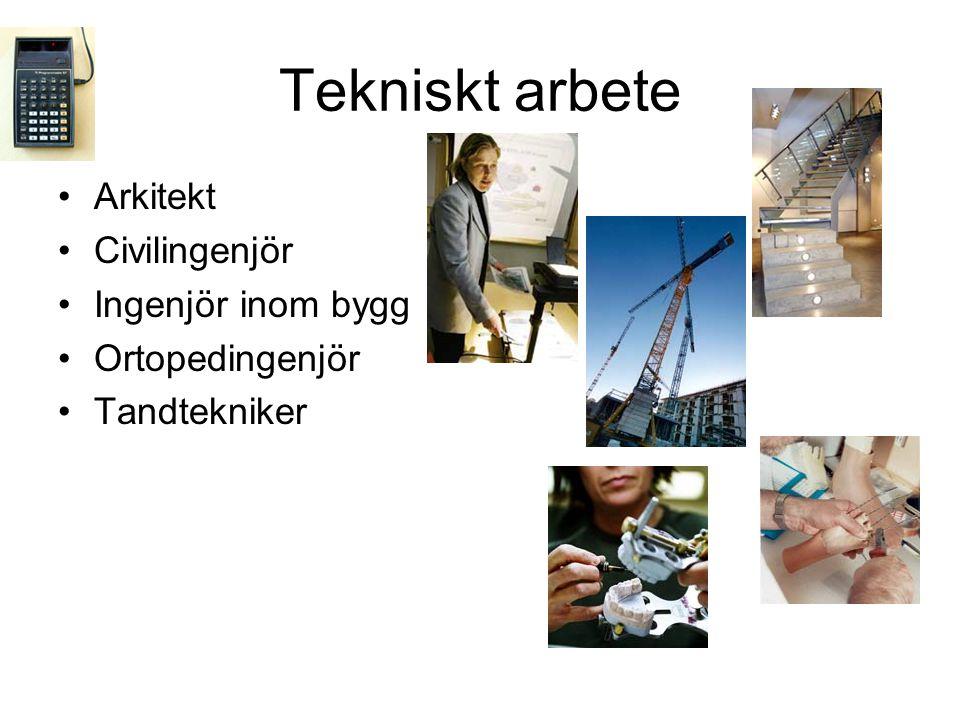 Tekniskt arbete Arkitekt Civilingenjör Ingenjör inom bygg